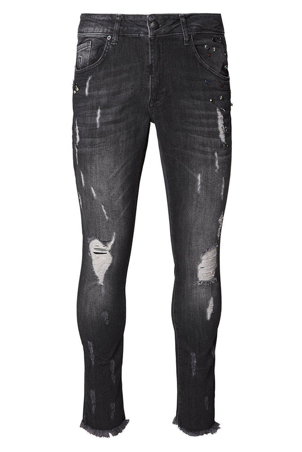 Deep Distressed Pierced Jewel Slim Fit  Jeans - Black White