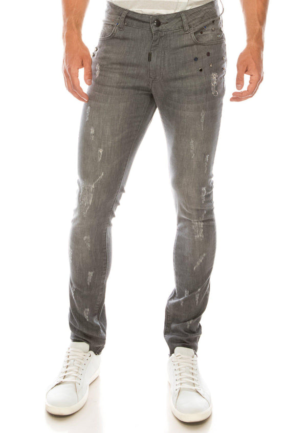 Deep Distressed Pierced Jewel Slim Fit  Jeans - Grey
