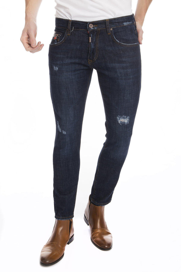 Deep Indigo Distressed Denim-Jeans-Ron Tomson-NAVY-29-Ron Tomson