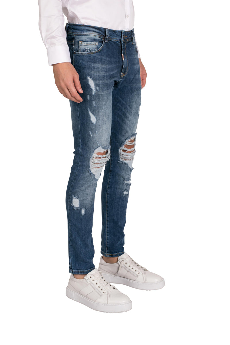 Deep Knee Distressed Slim Fit Jeans - NAVY - Ron Tomson
