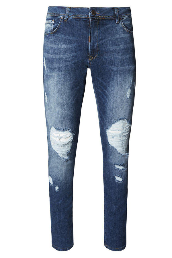 Deep Knee Distressed Slim Fit Jeans - NAVY