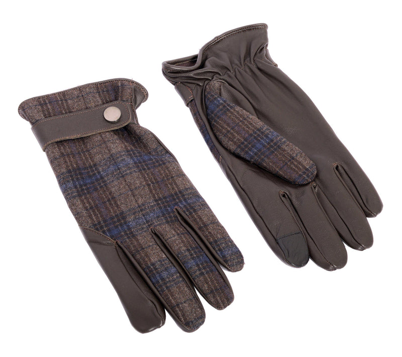 Dent Wool Melange Gloves - Brown Plaid - Ron Tomson