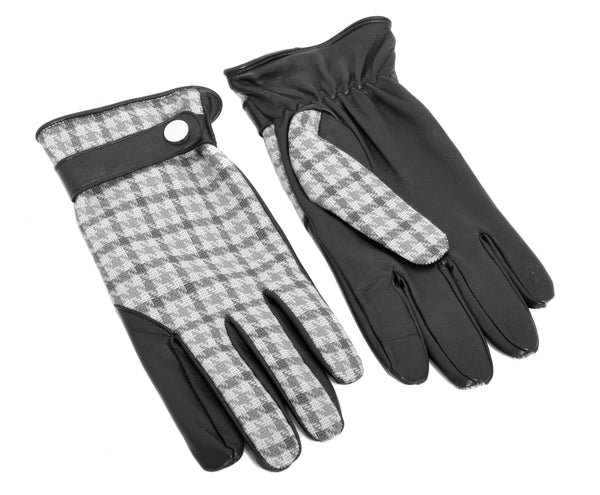 Dent Wool Melange Gloves - Grey Houndstooth