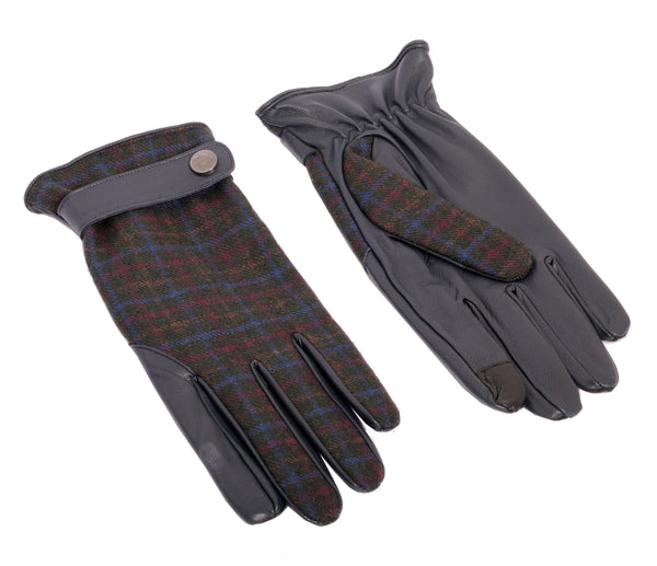 Dent Wool Melange Gloves - Navy Plaid