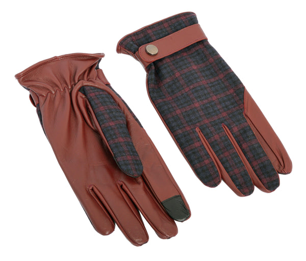Dent Wool Melange Gloves - Oxblood Plaid - Ron Tomson