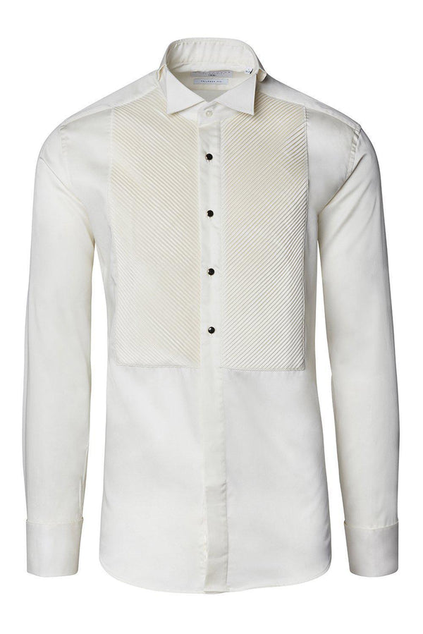Diagonal Pleated Wing Tip Collar Shirt - Beige