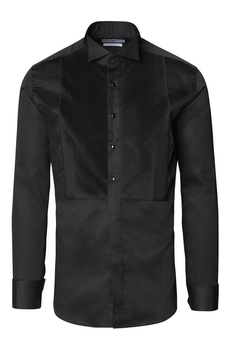 Diagonal Pleated Wing Tip Collar Shirt - Black - Ron Tomson