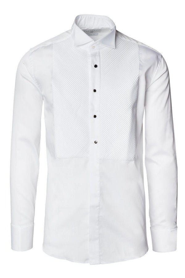 Diagonal Pleated Wing Tip Collar Shirt - White