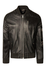 Diamond Quilted Leather Bomber Jacket - Ron Tomson
