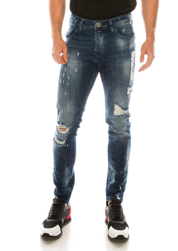 DISTRESSED AND PAINTED SLIM FIT INDIGO JEANS