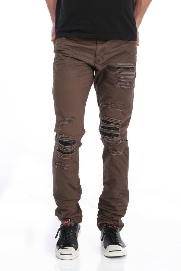 Distressed and Patched Regular Fit Jeans - More Colors-Jeans-Ron Tomson-DARK KHAKI-29-Ron Tomson