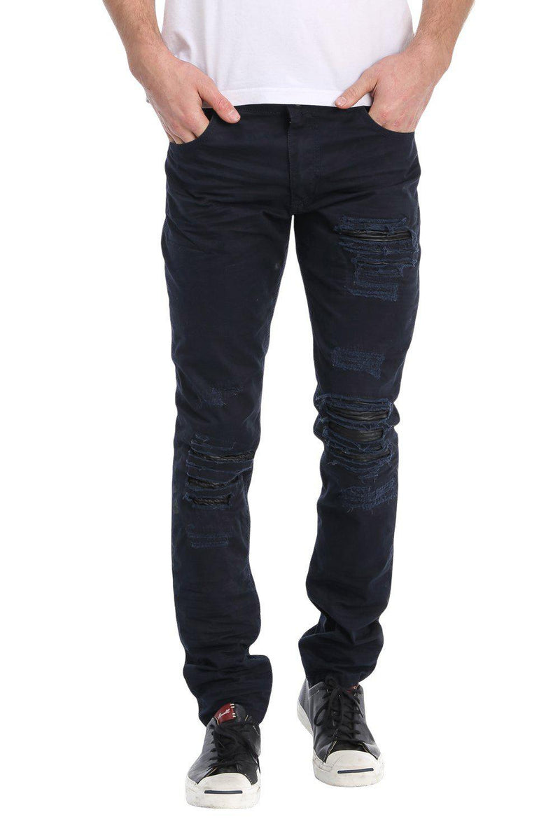 DISTRESSED AND PATCHED REGULAR FIT JEANS - BLACK - Ron Tomson