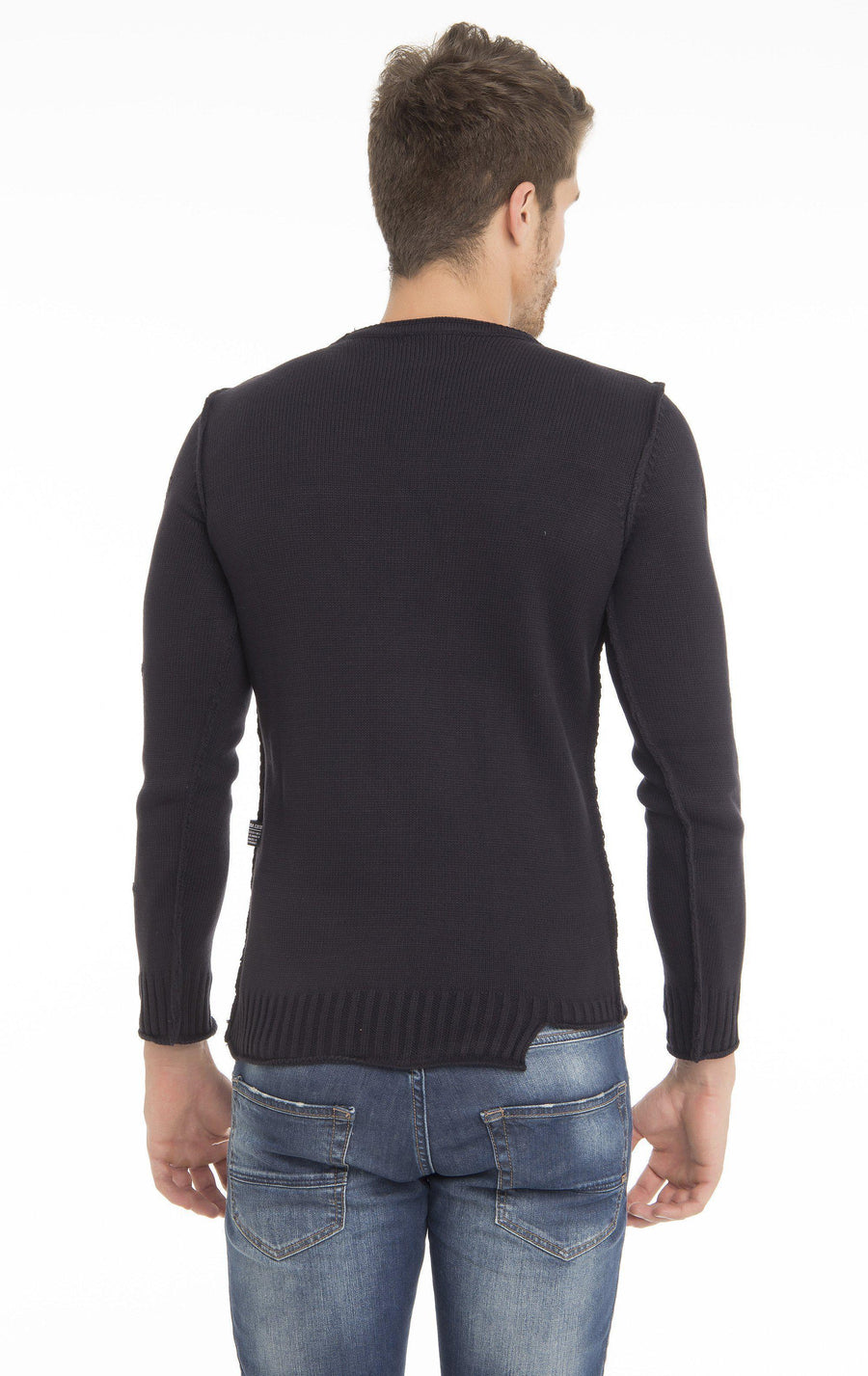 Distressed Fitted Long Sleeved Sweater - More Colors-Knitwear-Ron Tomson-NAVY-M-Ron Tomson