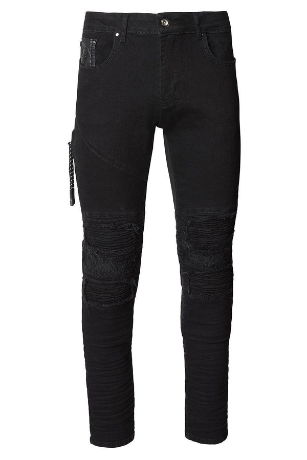 Distressed Moto Tapered Denim - Black Black