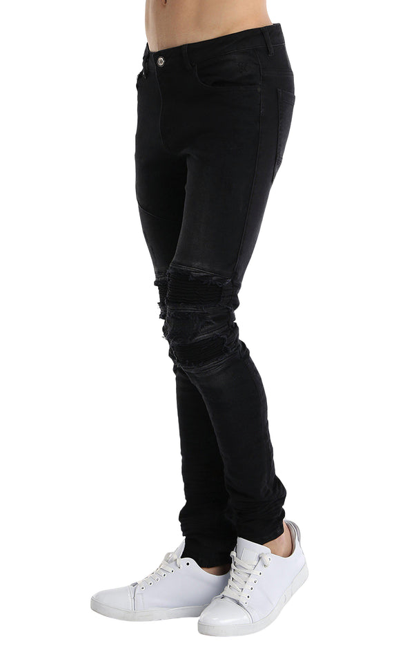 Distressed Moto Tapered Denim - Black