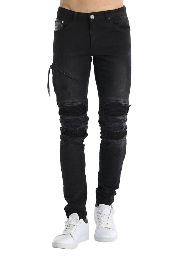 Heavy Distressed Ribbed Moto Jeans - New Colors-Jeans-Ron Tomson-BLACK-29-Ron Tomson