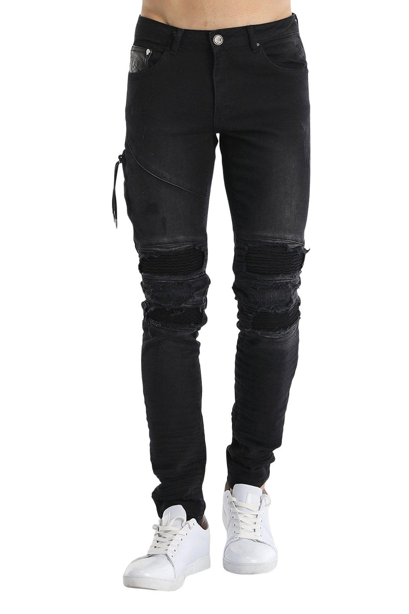 Distressed Moto Tapered Denim - Black - Ron Tomson