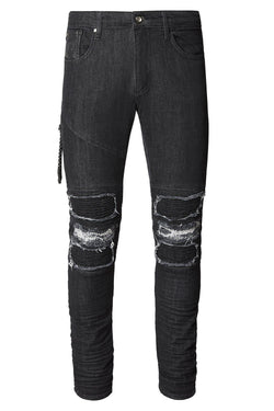 Distressed Moto Tapered Denim - Black White