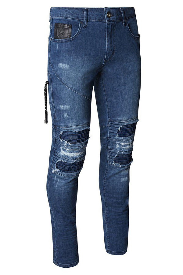 Distressed Moto Tapered Denim - Blue