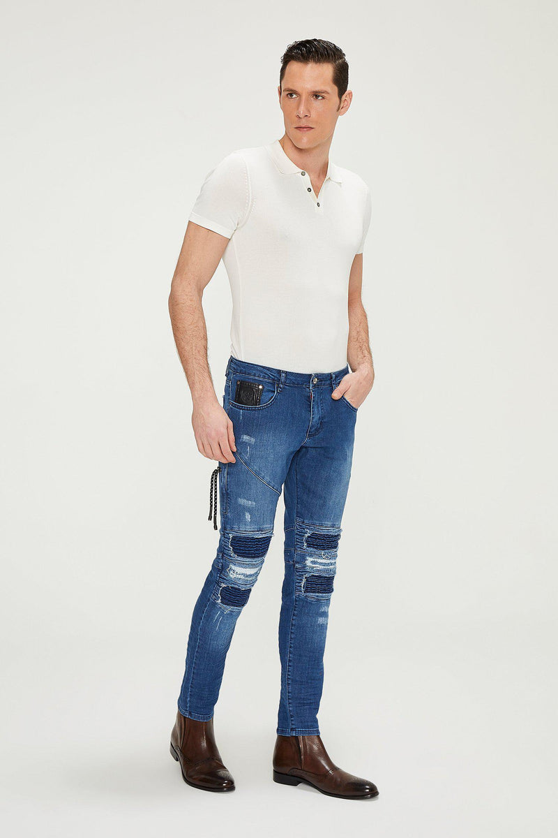 Distressed Moto Tapered Denim - Blue - Ron Tomson