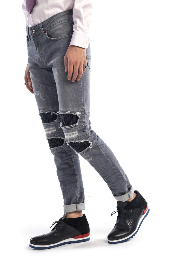 Distressed Moto Tapered Denim - Grey Black