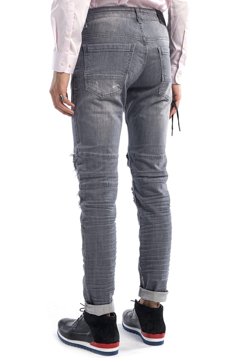Distressed Moto Tapered Denim - Grey Black - Ron Tomson