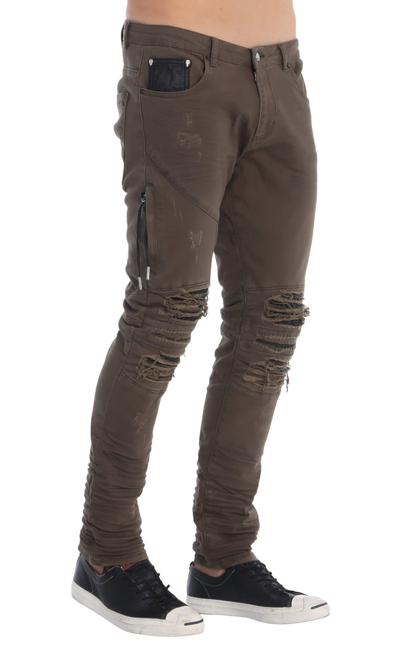 Distressed Moto Tapered Denim - Light Khaki - Ron Tomson