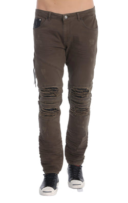 Distressed Moto Tapered Denim - Light Khaki