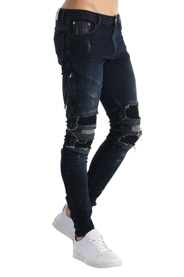 Distressed Moto Tapered Denim - Navy