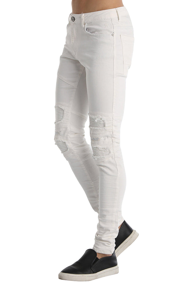 Distressed Moto Tapered Denim - White