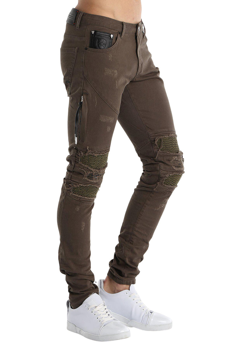 Distressed Moto Tapered Jeans - Green Green
