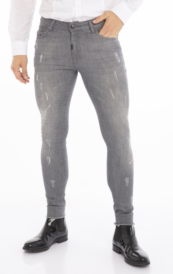 Distressed Ripped Hem Skinny Jeans - Grey