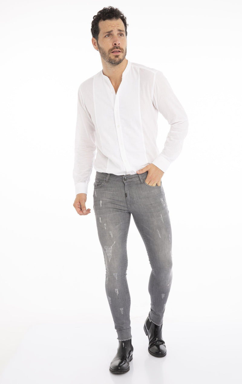 Distressed Ripped Hem Skinny Jeans - Grey - Ron Tomson
