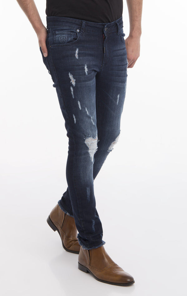 Distressed Ripped Hem Skinny Jeans - Navy