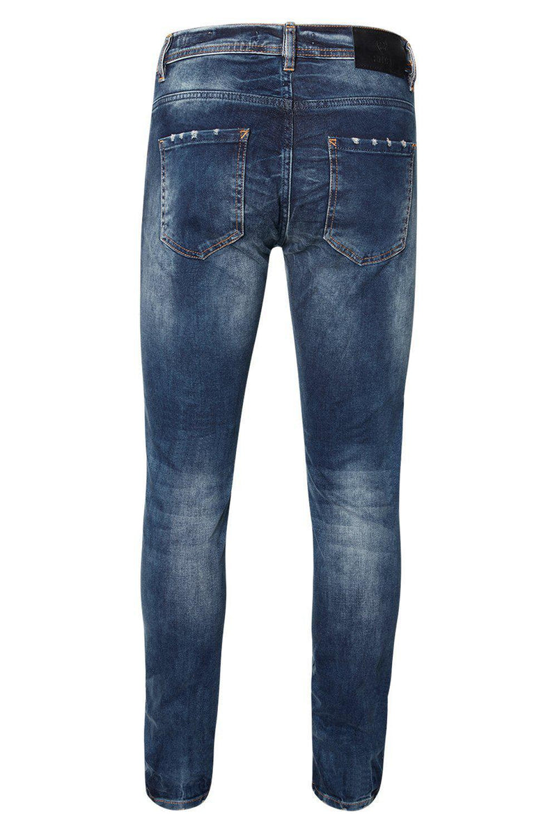 DISTRESSED SLIM TAPERED BLUE JEANS - Ron Tomson