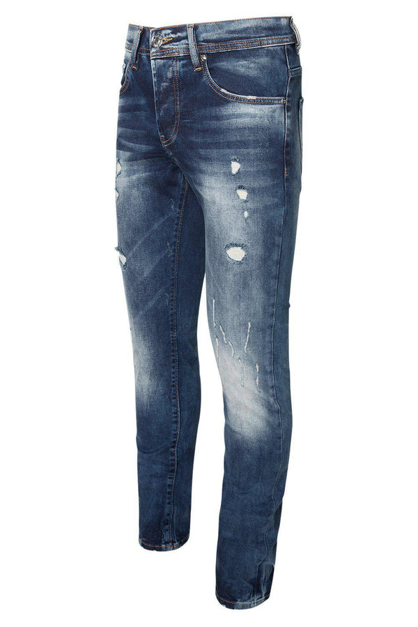 DISTRESSED SLIM TAPERED BLUE JEANS
