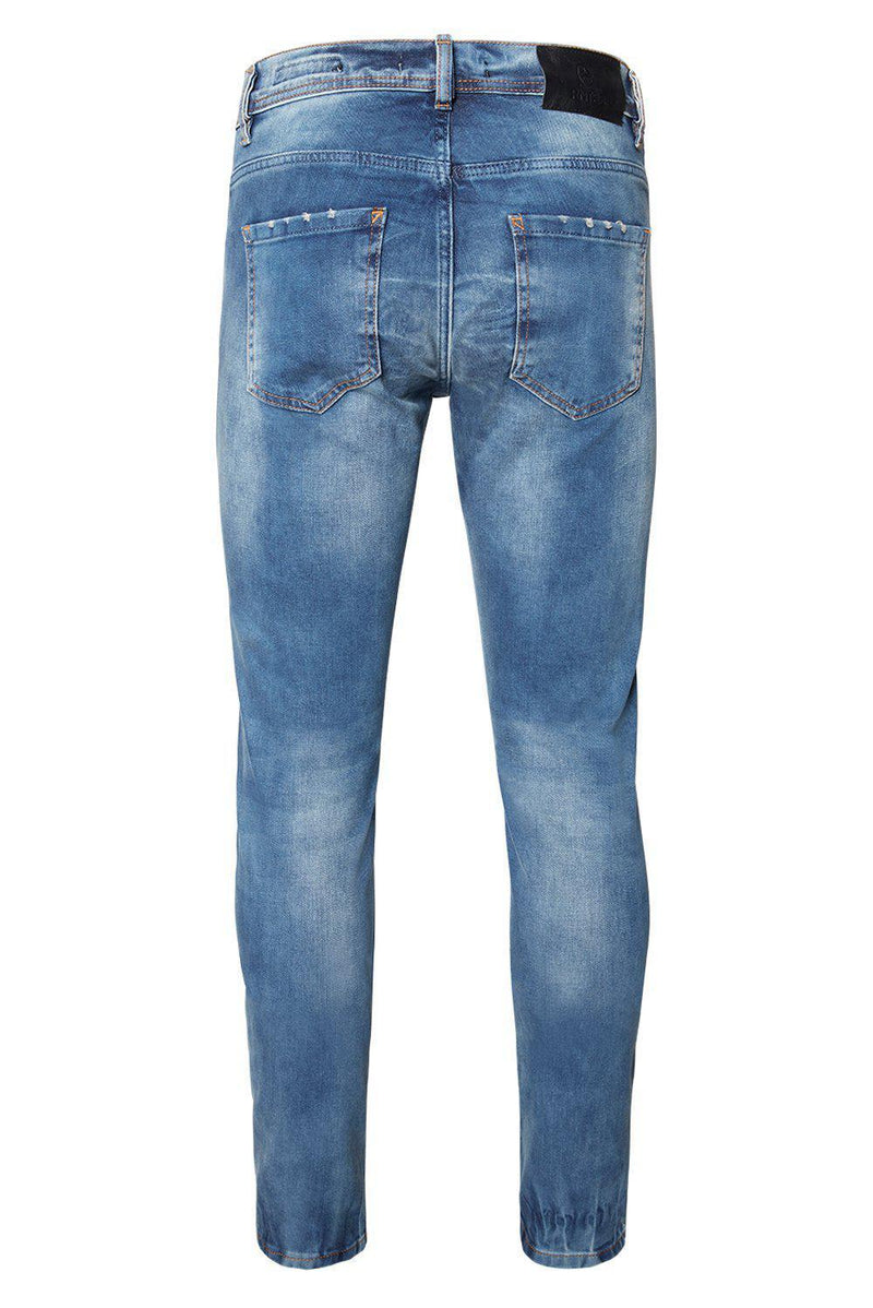 DISTRESSED SLIM TAPERED NAVY JEANS - Ron Tomson