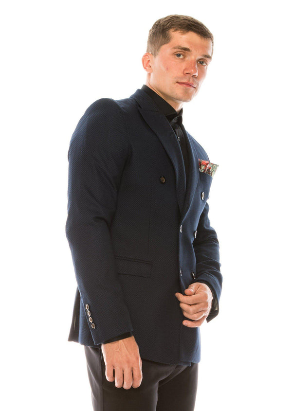 Double Breasted Fitted Stretch Blazer - Navy - Ron Tomson