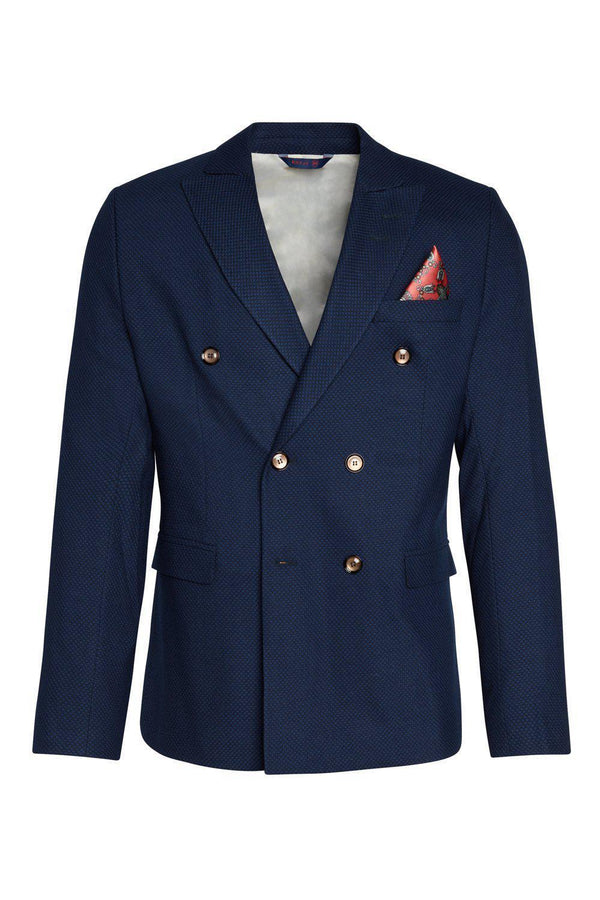 Double Breasted Fitted Stretch Blazer - Sax