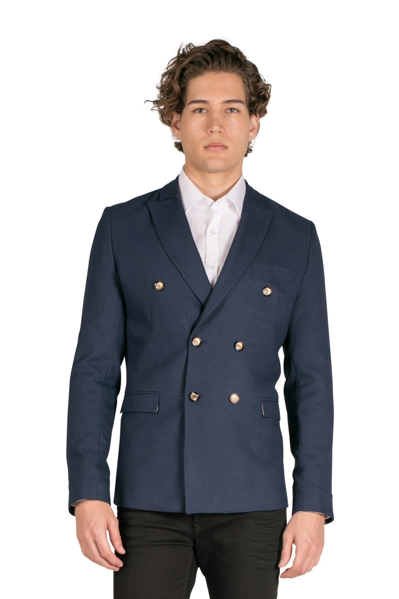 Double Breasted Fitted Stretch Blazer - Sax - Ron Tomson
