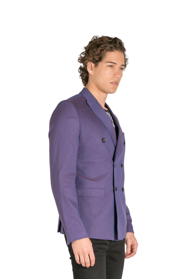 Double Breasted Fitted Stretch Blazer - Wine 1 - Ron Tomson