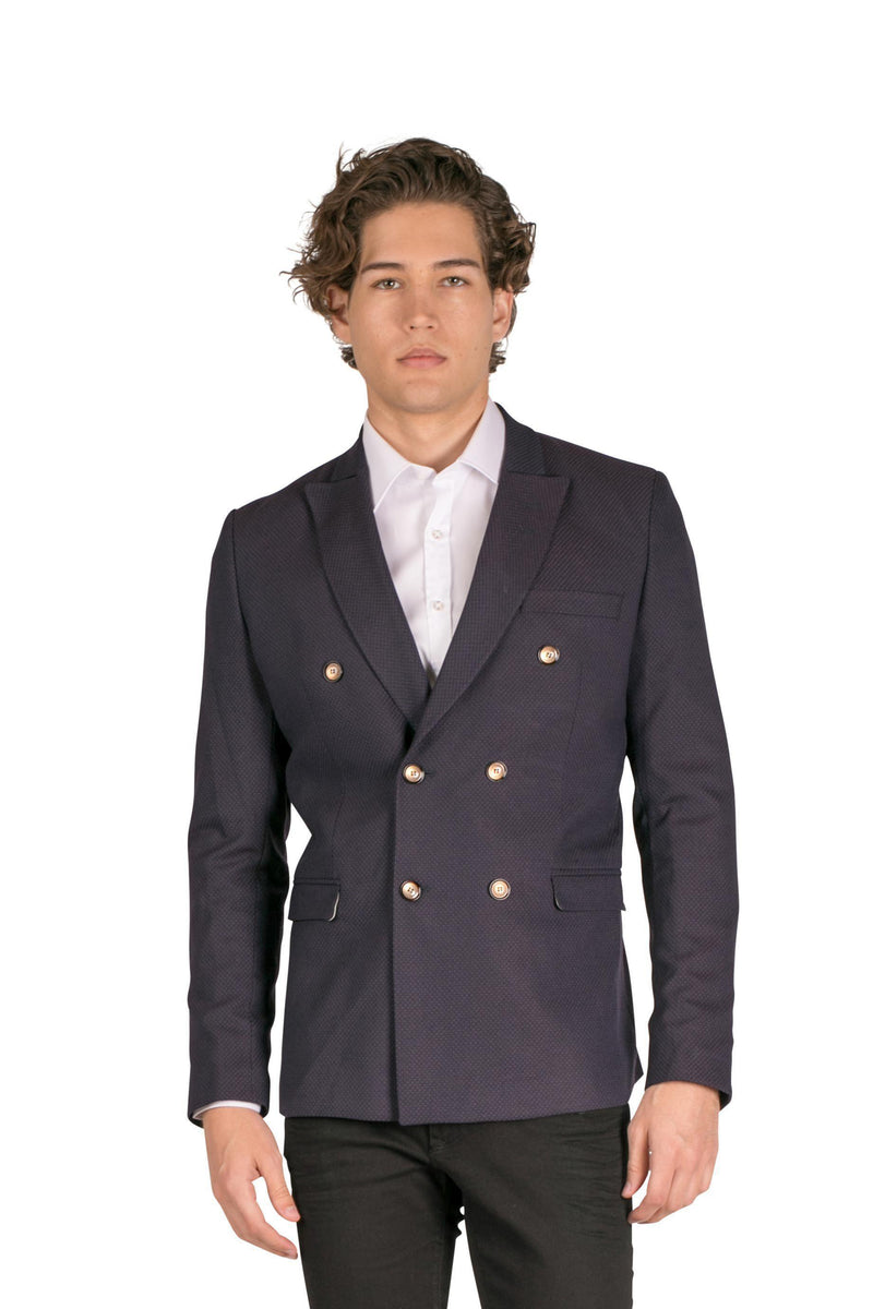 Double Breasted Fitted Stretch Blazer-Blazers & Sport Coats-Ron Tomson-WINE-M-Ron Tomson