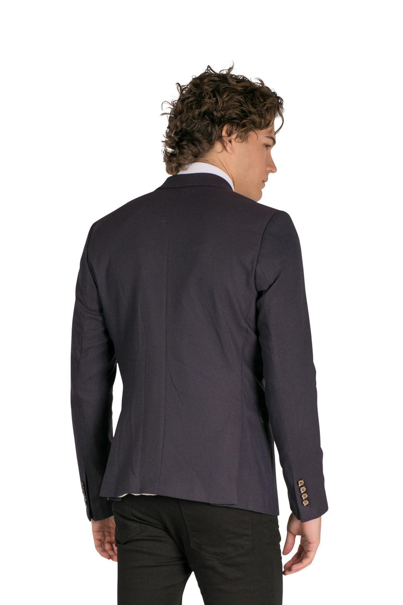 Double Breasted Fitted Stretch Blazer-Blazers & Sport Coats-Ron Tomson-NAVY-M-Ron Tomson