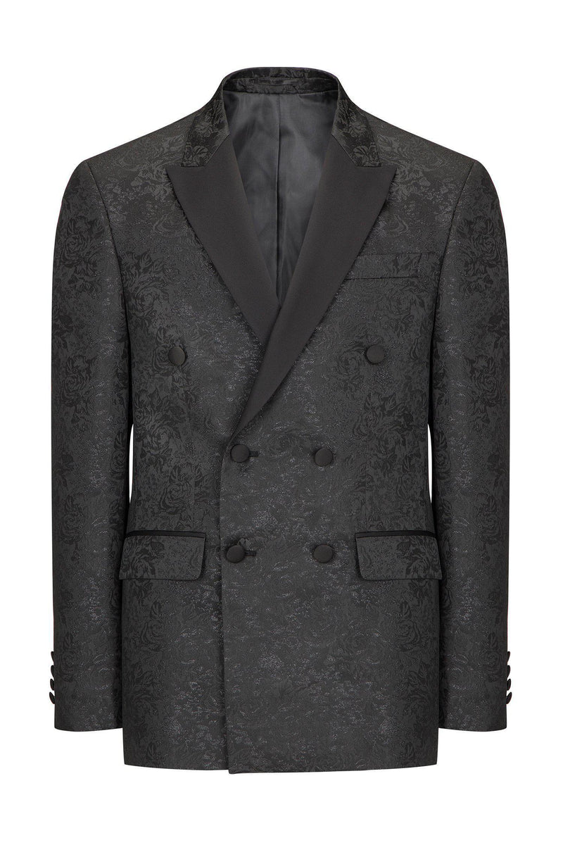 DOUBLE BREASTED FLORAL PEAK LAPEL TUXEDO - BLACK - Ron Tomson