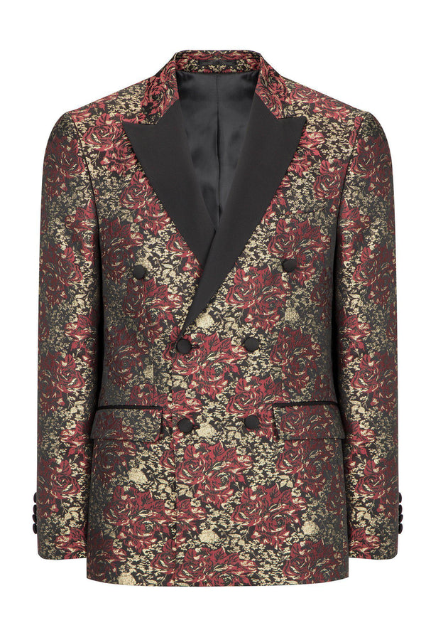 DOUBLE BREASTED FLORAL PEAK LAPEL TUXEDO - BURGUNDY