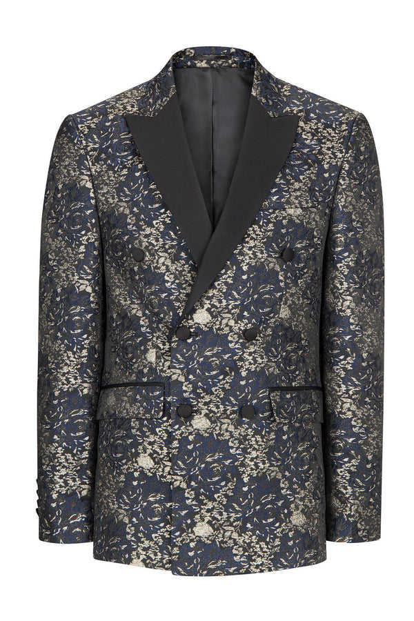 DOUBLE BREASTED FLORAL PEAK LAPEL TUXEDO - NAVY