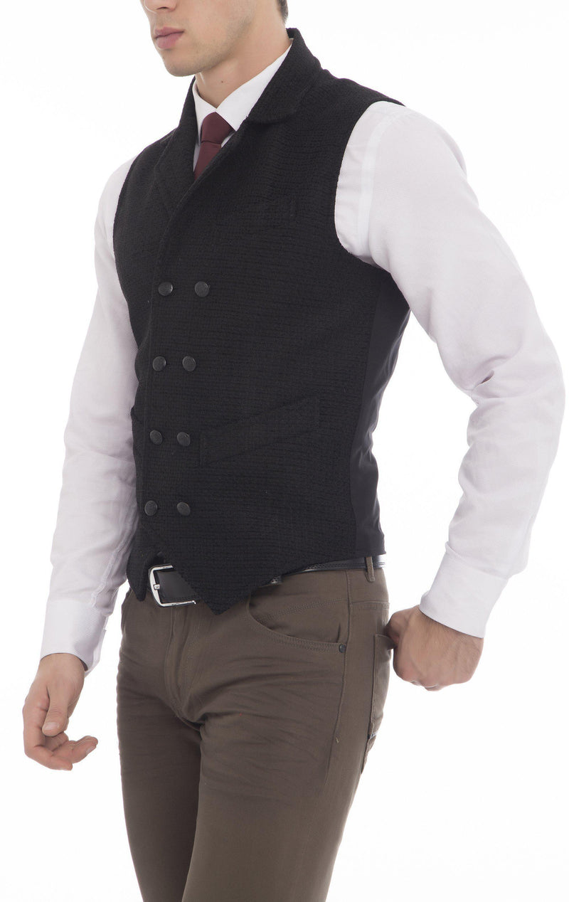 Double Breasted Notch Lapel Vest - Black