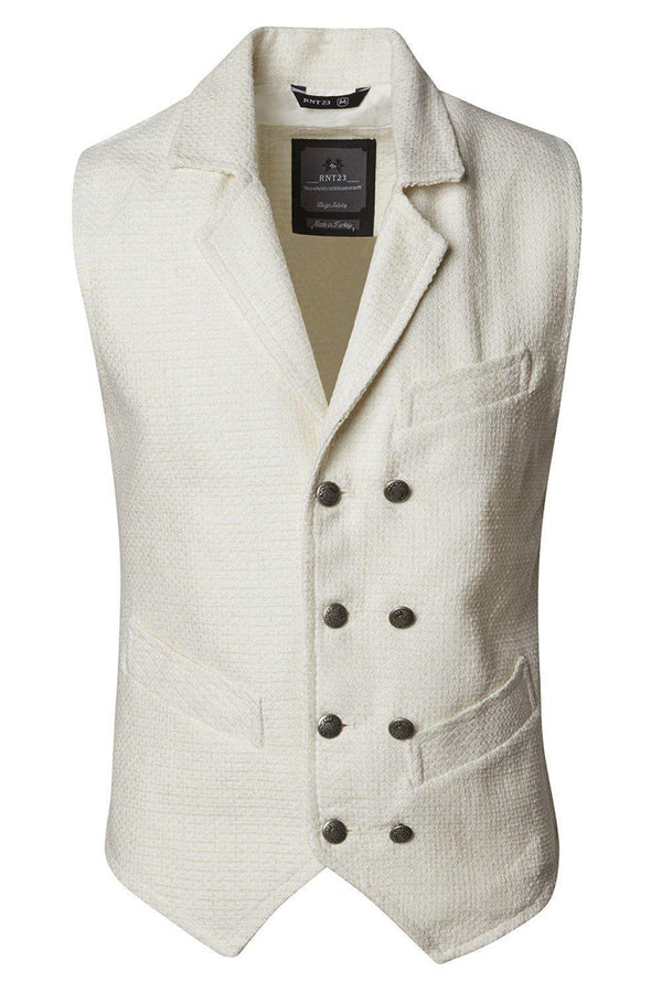 Double Breasted Notch Lapel Vest - Ecru