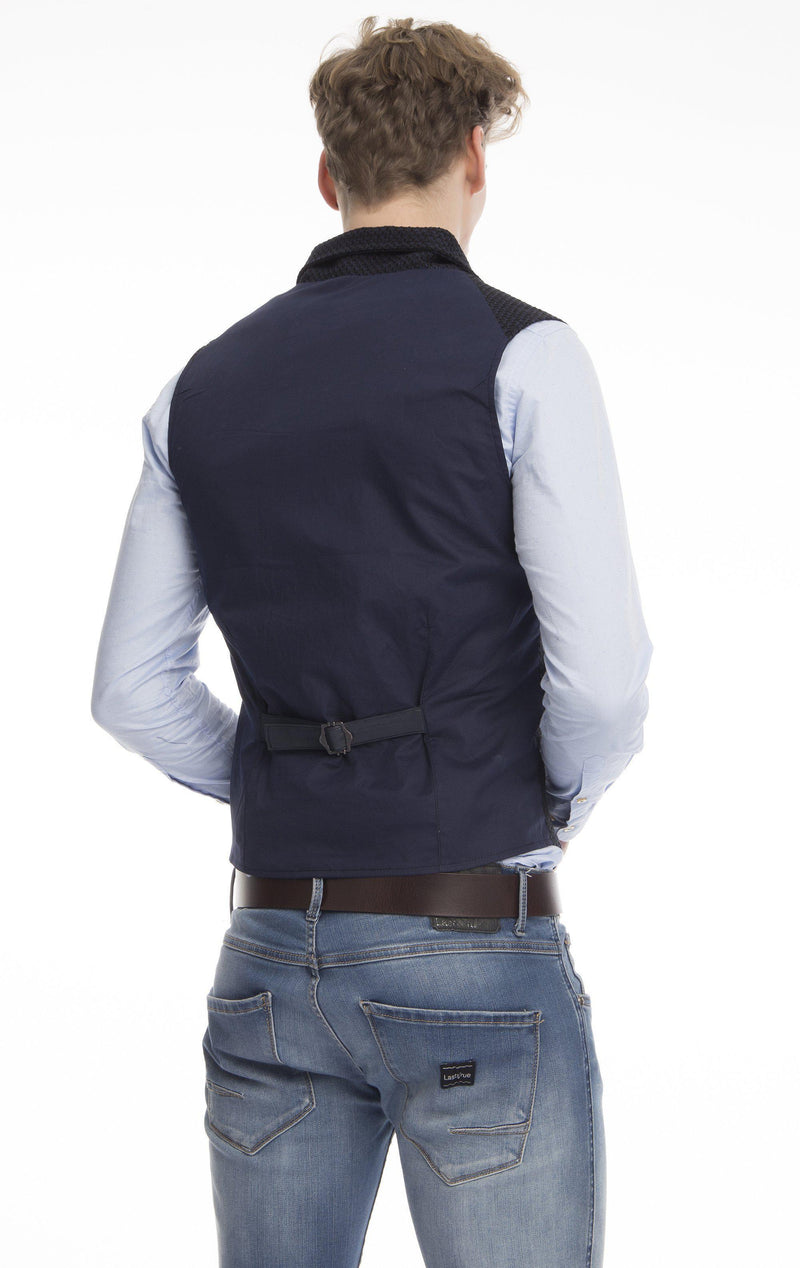 Double Breasted Notch Lapel Vest - Navy - Ron Tomson