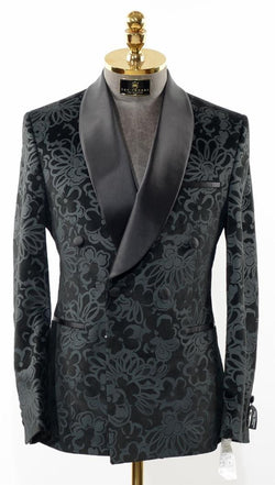 Double Breasted Tuxedo - Black Grey Floral